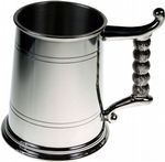 1pt Double Lines Rope Handle Pewter Tankard